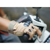 Sarung Tangan Kulit Motor Sepeda Pria Half Finger Fitness Glove Army - Coklat Gurun L