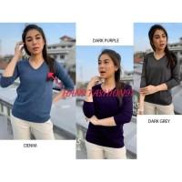 V neck knit lengan sesiku / blouse rajut sesiku (182)