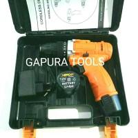 Mesin Bor Cordless Drill 2 Baterai Charger XENON CDD500 .