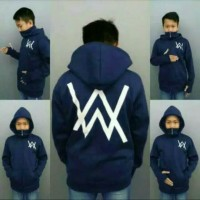 sweater jaket hoodie anak alan walker ninja hitam navi merah