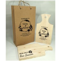 Souvenir talenan kayu kemas paperbag