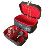 BLACK RED Jewelry Box Accesories Kotak Penyimpanan Emas Cincin Kalung