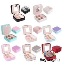 Cantik Nxl-kulit Kotak Penyimpanan Perhiasan Cincin / Kalung / Jam