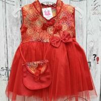 Baju Dress Shanghai Cheongsam Chinese Imlek Anak Bayi Perempuan Merah