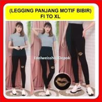 Celana Legging Motif Bibir Import Leging Panjang Hitam Motif Bibir XL