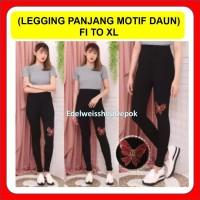 Celana Legging Hitam Import Leging Wanita Motif Pita XL
