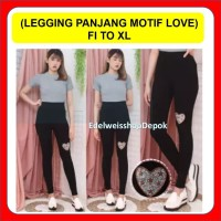 Legging Panjang Wanita Motif Love Celana Leging Import Love Hitam XL