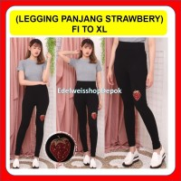 Leging Panjang Wanita Import Legging Celana Hitam Polos Motif Strawber