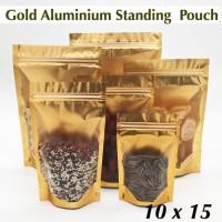 gold aluminium standing pouch full window 10x15