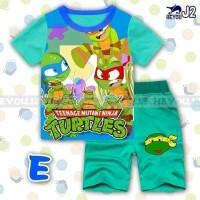 Setelan anak laki-laki kaos kura-kura ninja +celana import