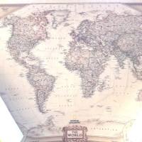 Peta Dunia Detail Benua National Geo / Poster Dinding / Map World Indo