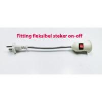 Fitting Adapter Fleksibel Lampu E27 EU Plug steker with saklar ON-OFF