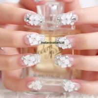 FN-310 Lucky Flower Square Tip Kuku Nikah Bridal Pengantin Cantik 3D