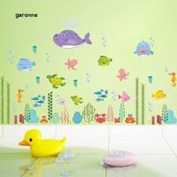 Stiker Dinding Decal Model Mural Desain Sea World Fish Grass, Anti-Air