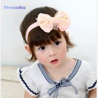 Terbaik Aksesoris Rambut Model Bando Aksen Pita Warna Pink dan Putih
