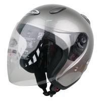 Helm Half Face YCN CR Cargloss Visor Hardcoat - Silver Met Glossy
