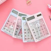 Calculator transparan water gliter