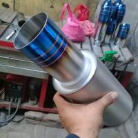 Knalpot Mobil HKS Turbo Biru Las Argon