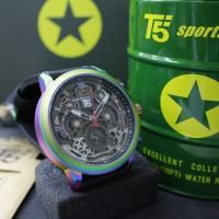T5 jam tangan analog pria Chronograph original H3624 hitam colorful