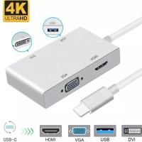 Kabel Converter Adaptor Type C 3.1 to HDMI VGA DVI USB 4 in 1 4Kx2K