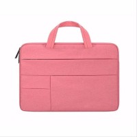 Tas Laptop 14 Inch Macbook Softcase Sleeve Pocket Handstrap-Pink