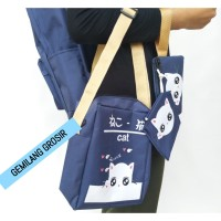Stylish Backpack -) TAS RANSEL NEKO 4 IN 1 / BACKPACK DOMPET