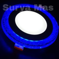 Lampu Downlight Panel Led 2 Warna Bulat Putih dan Biru 3w+3 watt Inbow
