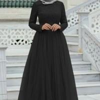 Baju Atasan Wanita Maxi Dress Baju Muslim Mx Almaer Black Ta7.1814