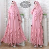 Baju Muslim Gamis Syari Ceruty Djana Pink Tatop.104