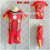 Baju Setelan Pendek Kostum Anak Karakter Superhero IRONMAN IRON MAN