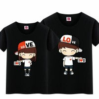 BG - Cp Topi Love Kaos Couple (Lengan Pendek)