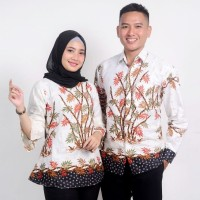 Batik Couple Atasan Wanita Blus dan Pria Lengan Panjang Bambu