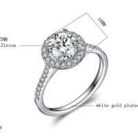 Cincin Berlian Lapis Emas Putih Imitasi Batu Zircon Silver Bulat J9116