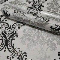 luxury vintage black & silver 45 cm x 10 mtr || Wallpaper dinding