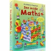 Usborne flap book see inside maths buku import anak