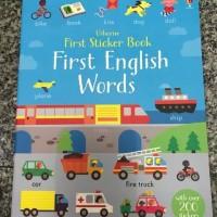 Usborne first sticker book first english words buku import anak sticke