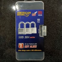 Gembok American Secure 50 mm Master Key 3 Pcs Anti Cut Anti Acid