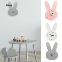 Jam Dinding Bahan Kayu Model Kelinci Nordic Lucu untuk Dekorasi Kamar