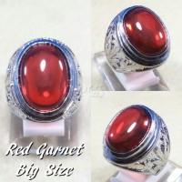 cincin batu akik permata red garnet big size mewah dan termurah