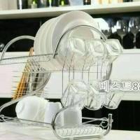 Rak Piring 2 Susun Stainless Tempat Gelas dan Peralatan Dapur