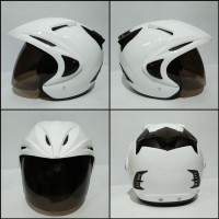 Helm Half Face Putih Polos Thi Solid SNI - Kaca Hitam
