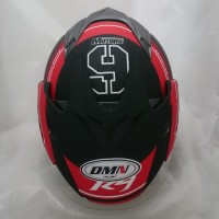Helm DMN double visor R-9 Black doff Red bukan BXP GM KYT NHK INK