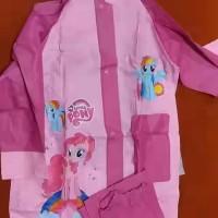 jas hujan anak setelan celana karakter spideman cars litte pony frozen