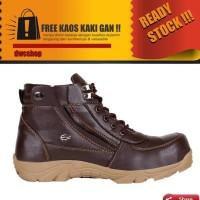 Sepatu Pria Crdl Dark Brown Safety Zipper Ujung Besi Termurah