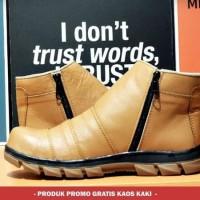 Sepatu Safety Kulit Asli Crocodile Zipper Safety Ujung Besi Tan 40-45