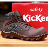 sepatu boots kickers safety hiking pria coklat tua