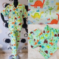 Baju Tidur Wanita Piyama Celana Panjang Katun Dinosaurus Green Hijau