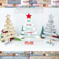 Pohon Natal Kayu Mini Meja Hiasan Dekorasi Christmas Tree Letter Font