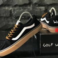 sepatu pria vans golfwang black white gum 39-44 import