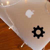 Decal Sticker Macbook Apple Stiker Gear Settings Logo Laptop
